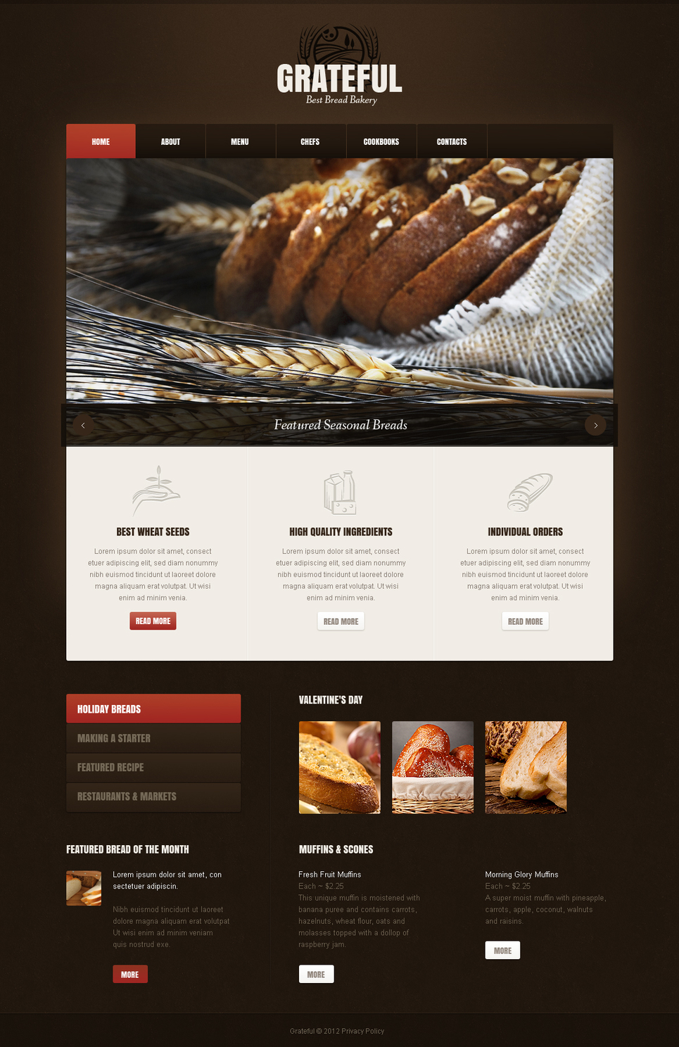 Bakery Website Template with jQuery Slider and Brown Background - image