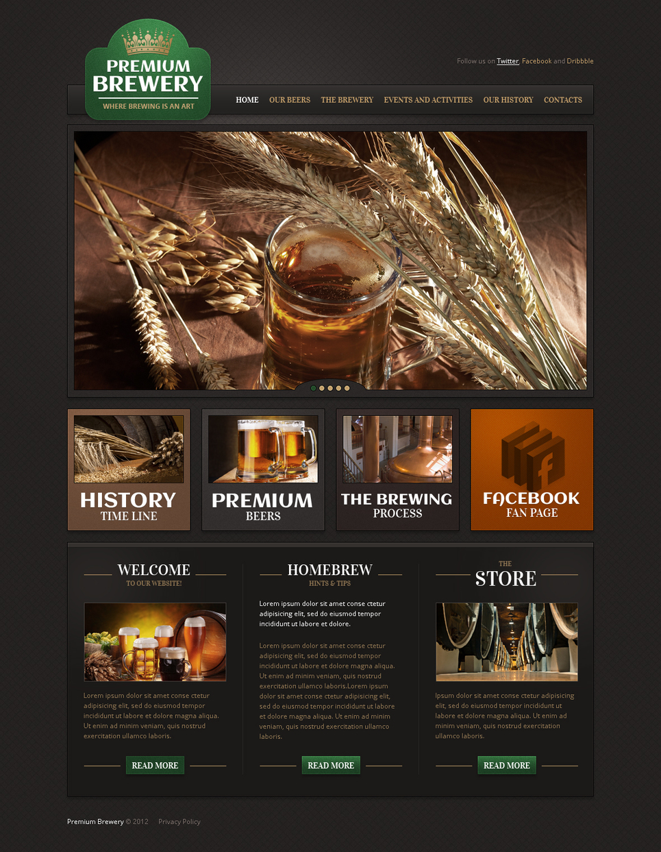 Brewery Website Template with a jQuery Slider - image