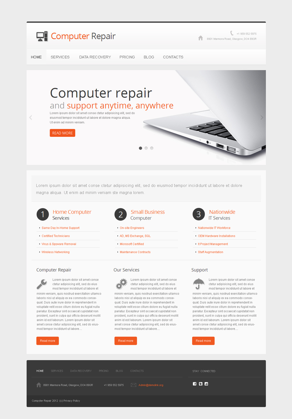 Computer Repair Website Template Made in White Tones - image