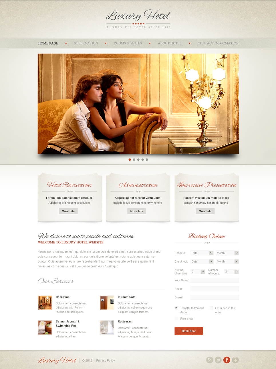 Hotel Website Template Done in Pastel Colors - image