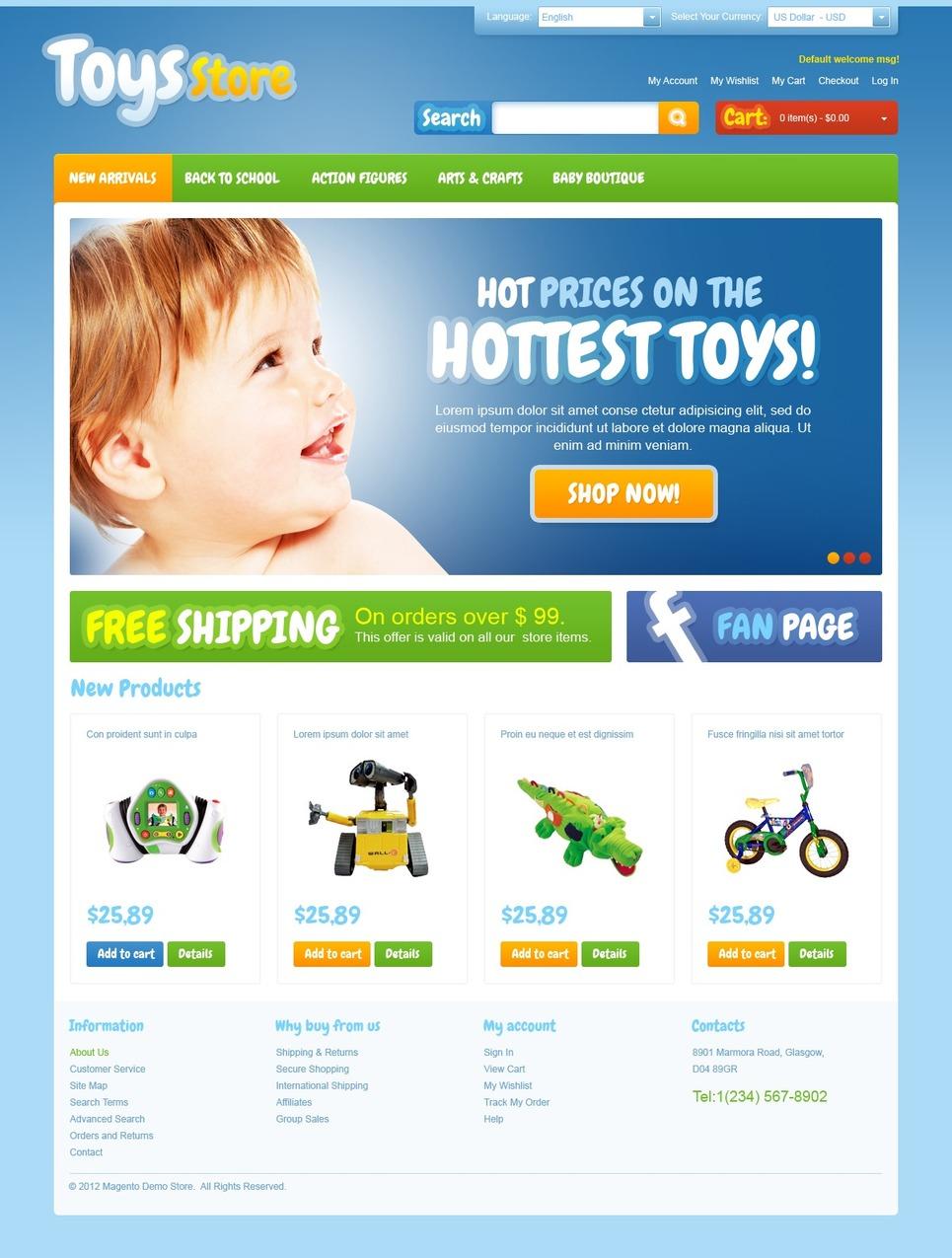 Excellent Toys Store Magento Theme – Blue