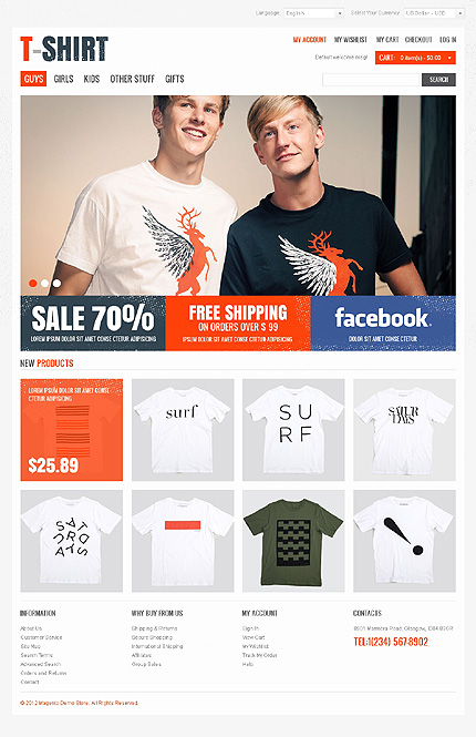 T-shirt gifts - Dignified T-shirt Store Magento Theme