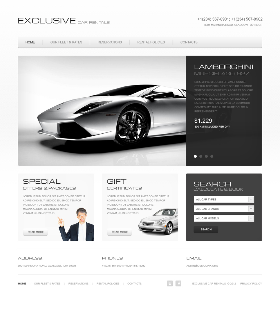 Exclusive Car Rental Services Website Template - image