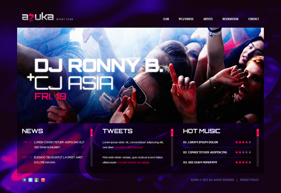 Night Club Website Template with a Big Photo Background - image