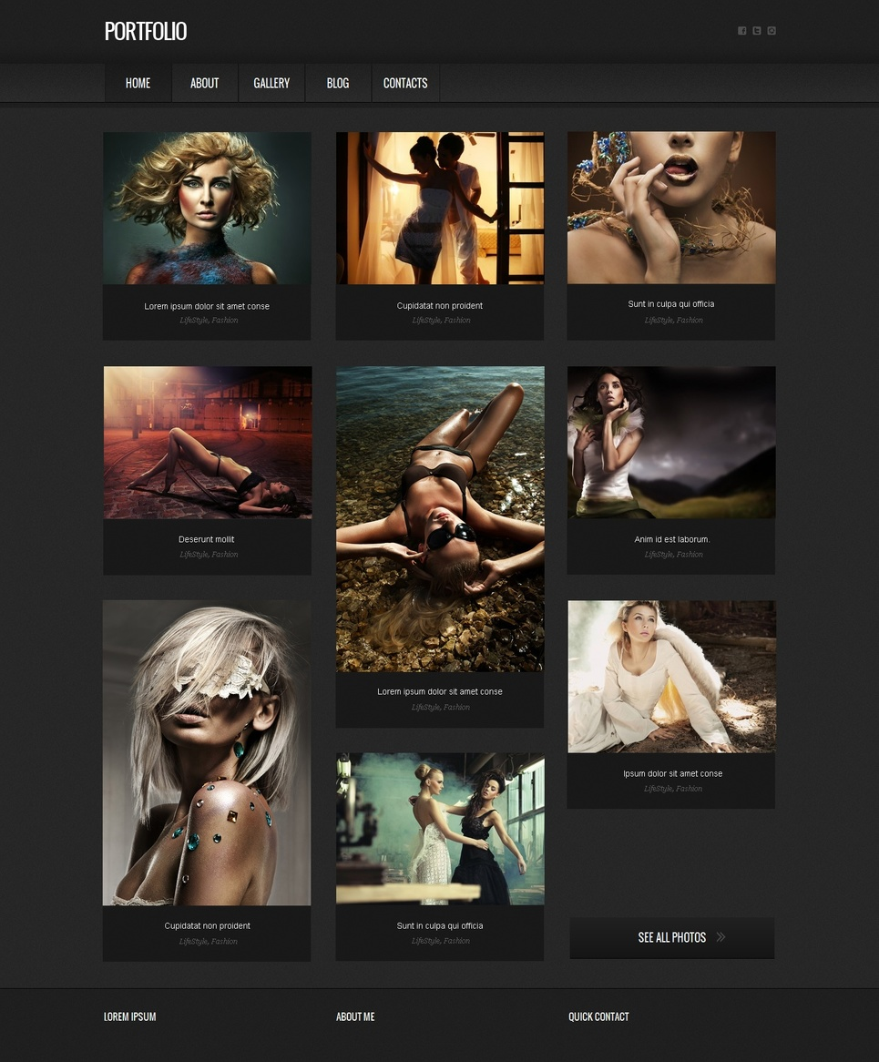 Portfolio Website Template with 2 Grid Photo Galleries - image