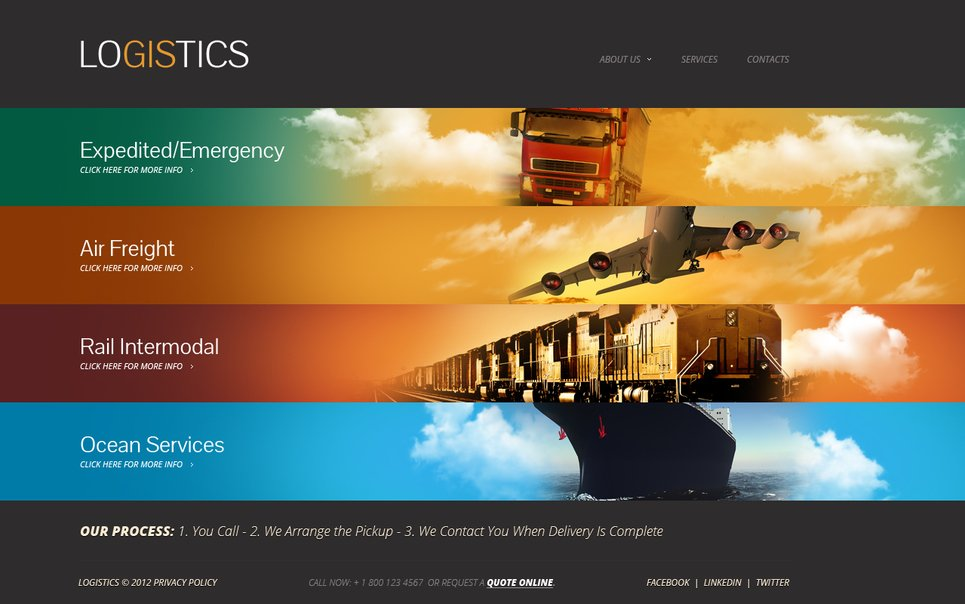 Transportation Website Template with Illustrated Menu Tabs - image