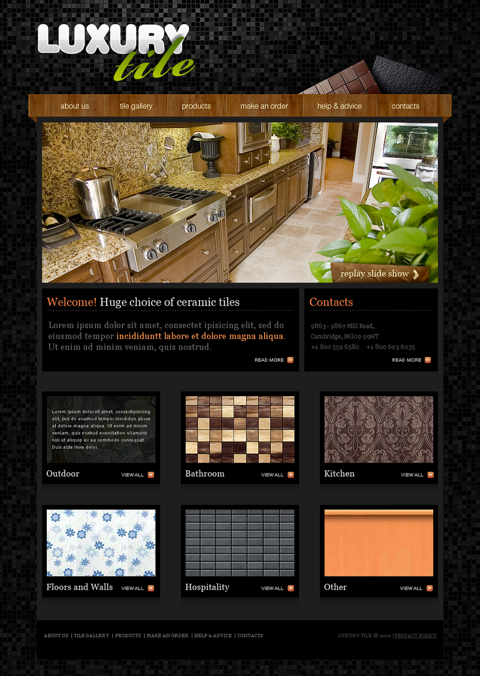Black Interior Design Website Template with Wooden Styled Menu - image