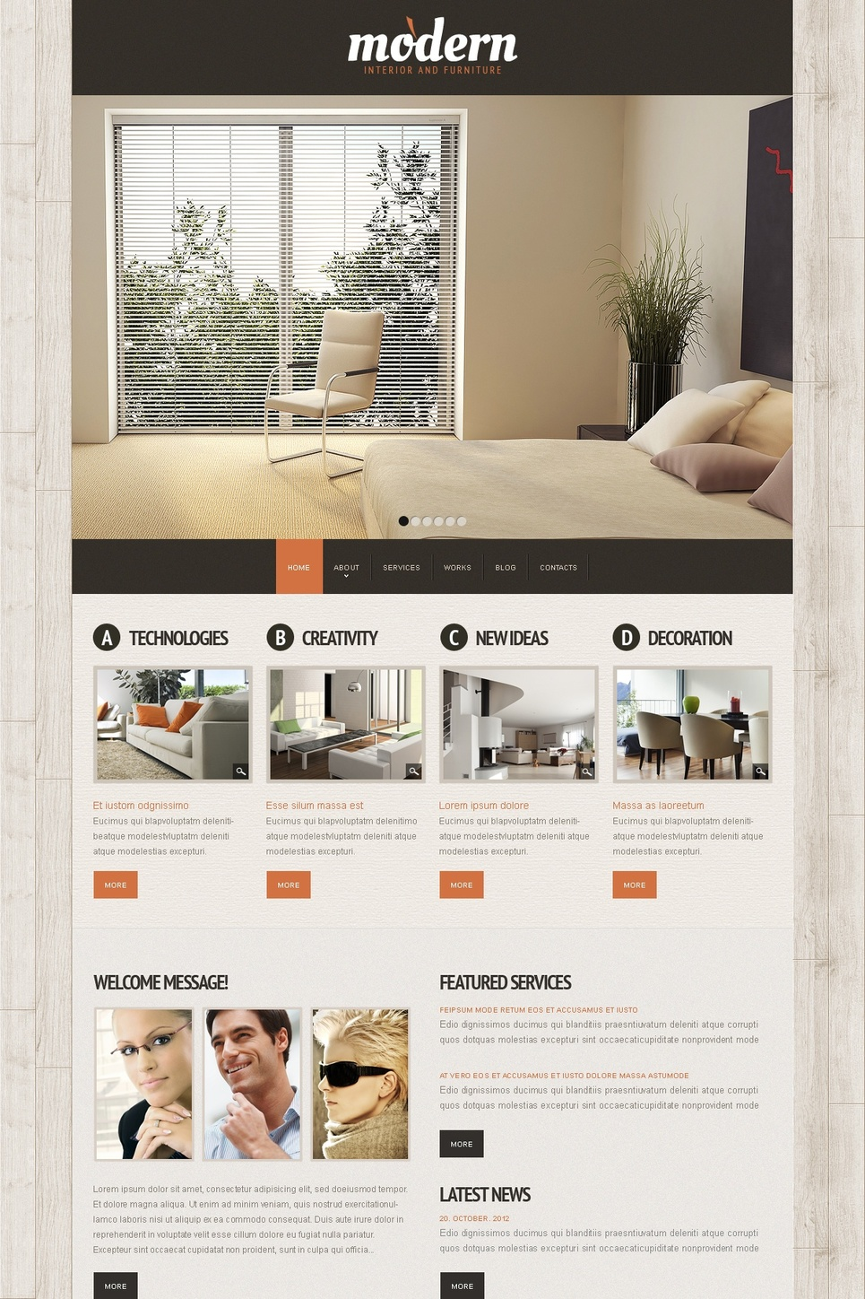 Wood Textured Website Template for Interior Designers - image