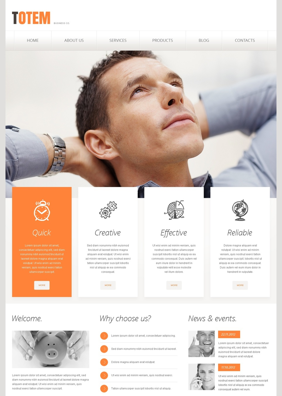 White Business Template with Orange Design Elements - image