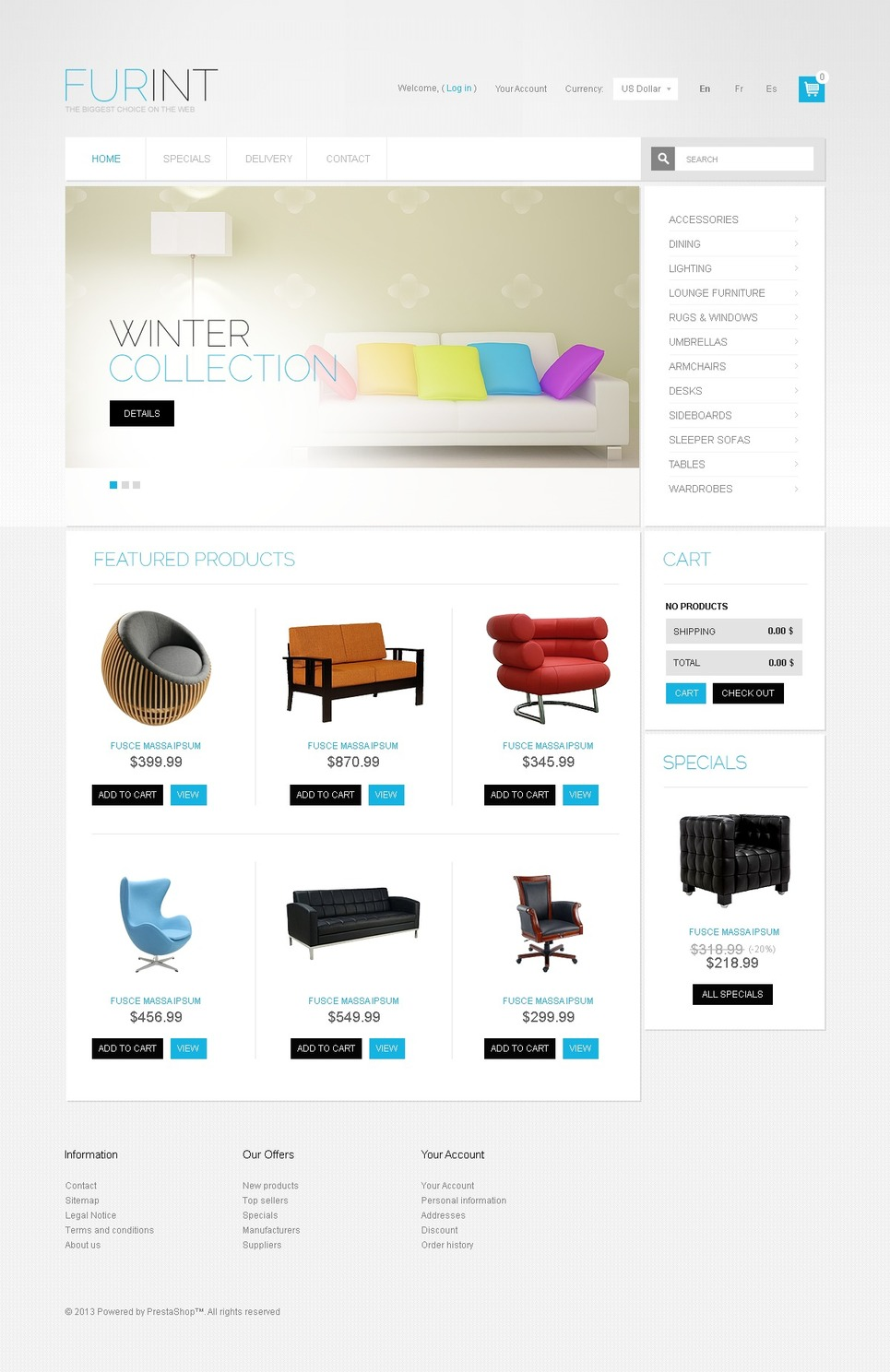 Airy Furniture and Interior PrestaShop Theme