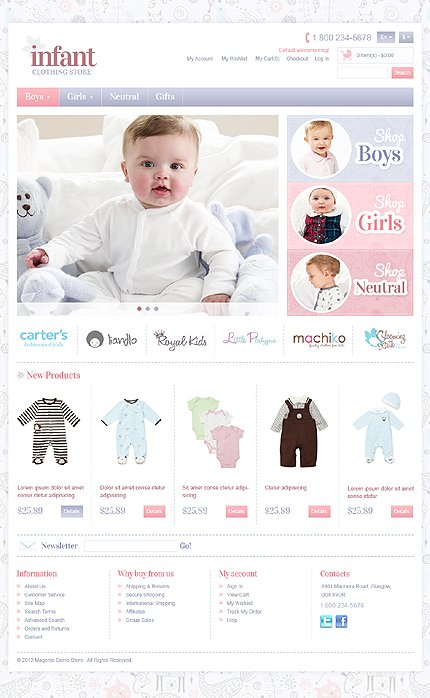 Infant clothing store Soothing Infant Clothing Store Magento Theme