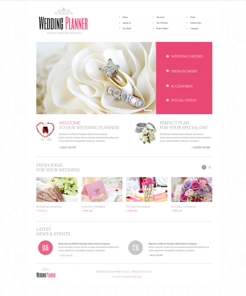 Wedding Planner Website Template with Gentle Colors and White Space - image