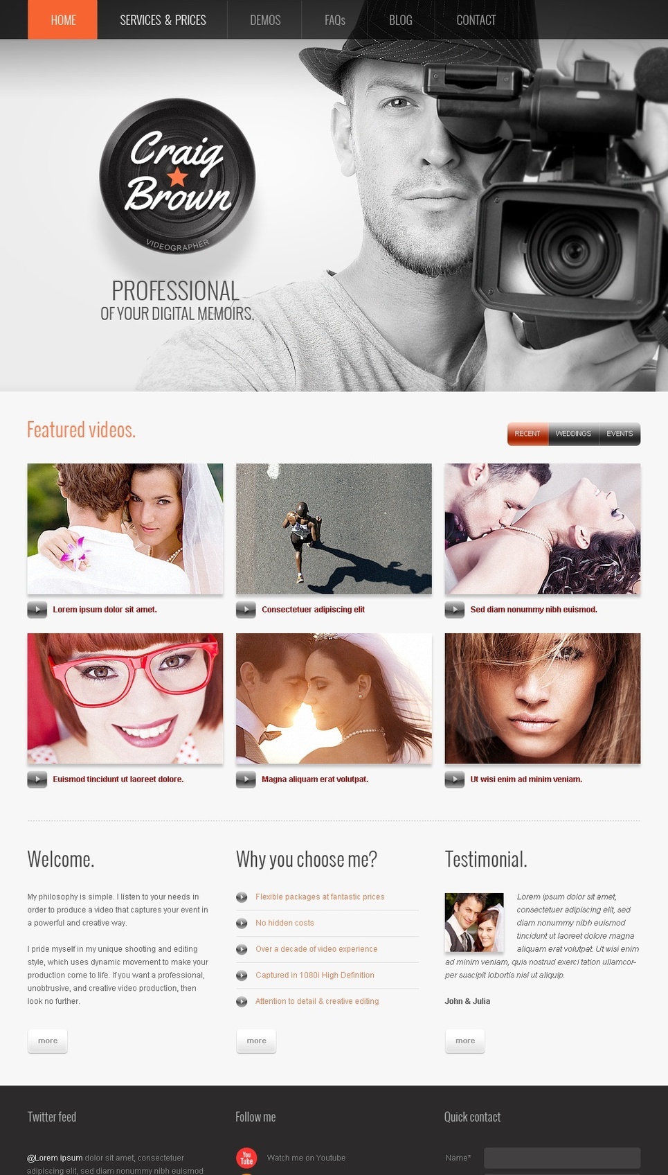 Photographer and Videographer Website Template for Professionals - image