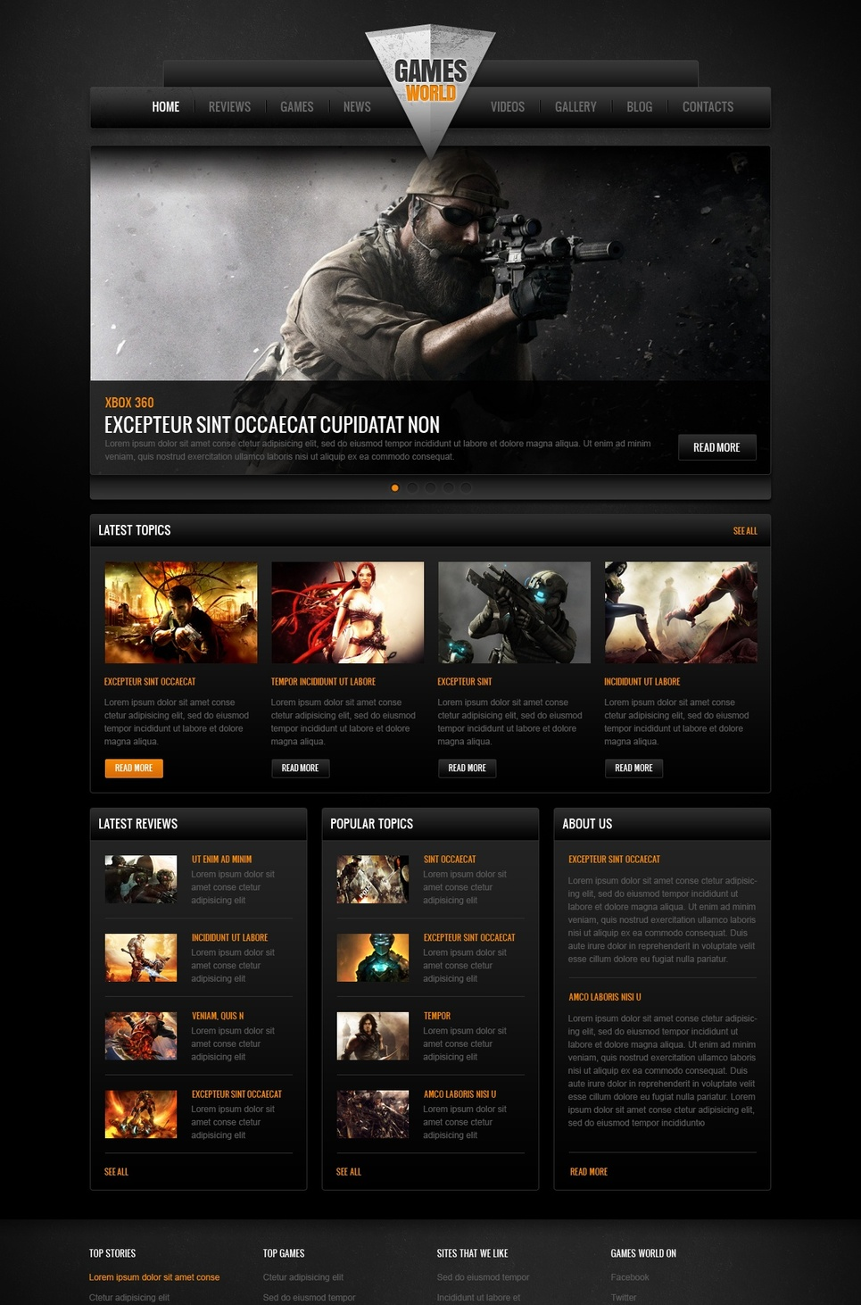Video Games Website Template with Dark Background and Big Footer - image