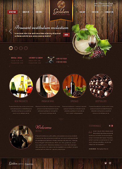 Black & Brown Wine WordPress Theme