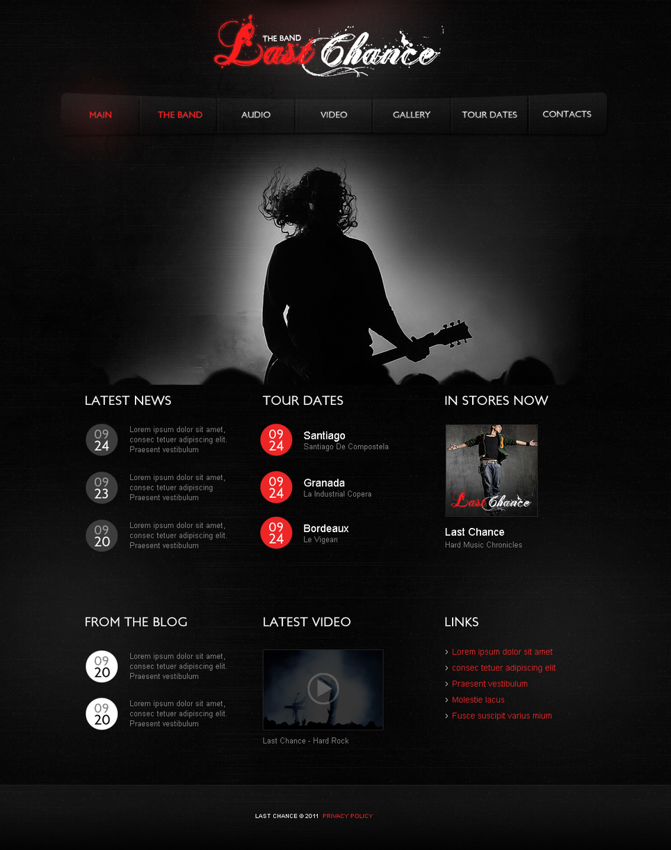 Music Band and Singer Website Template Made in Dark Style - image
