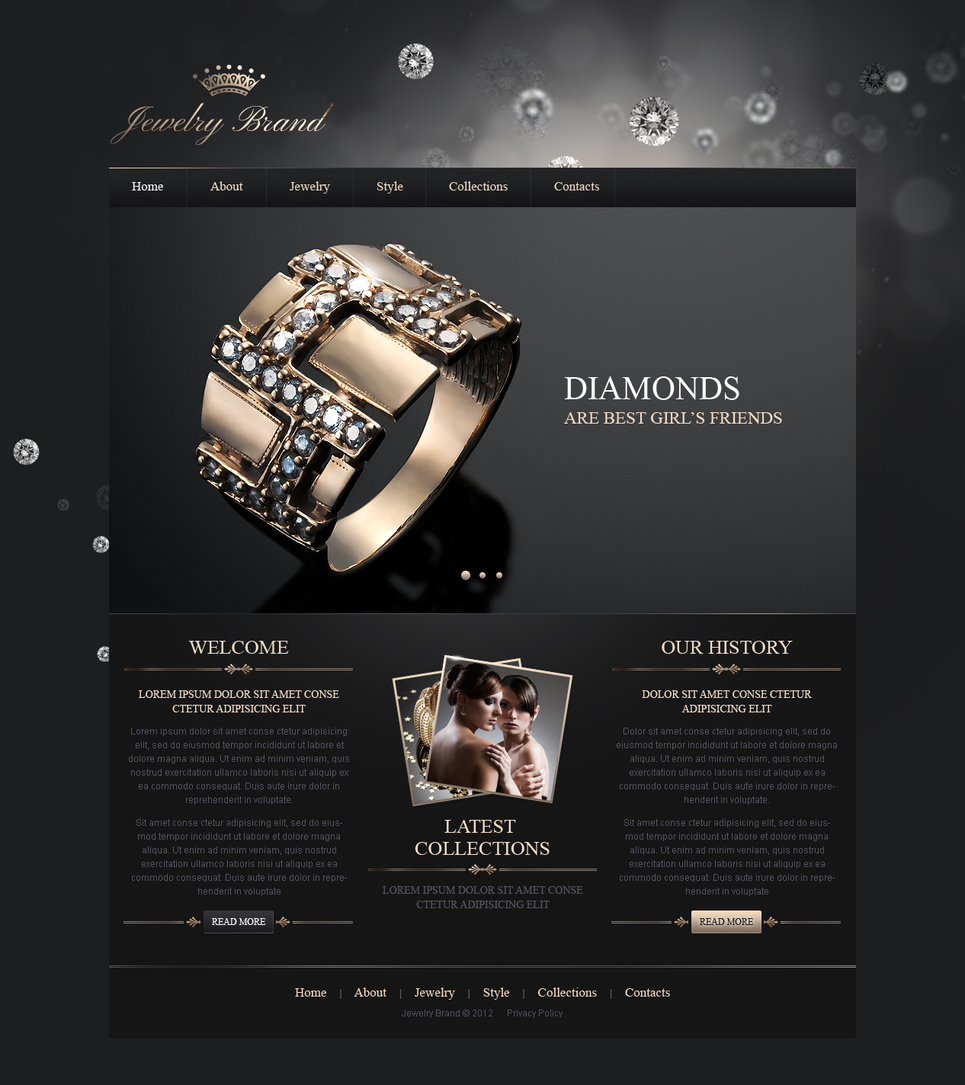 Dark Website Template to Showcase Jewelries - image