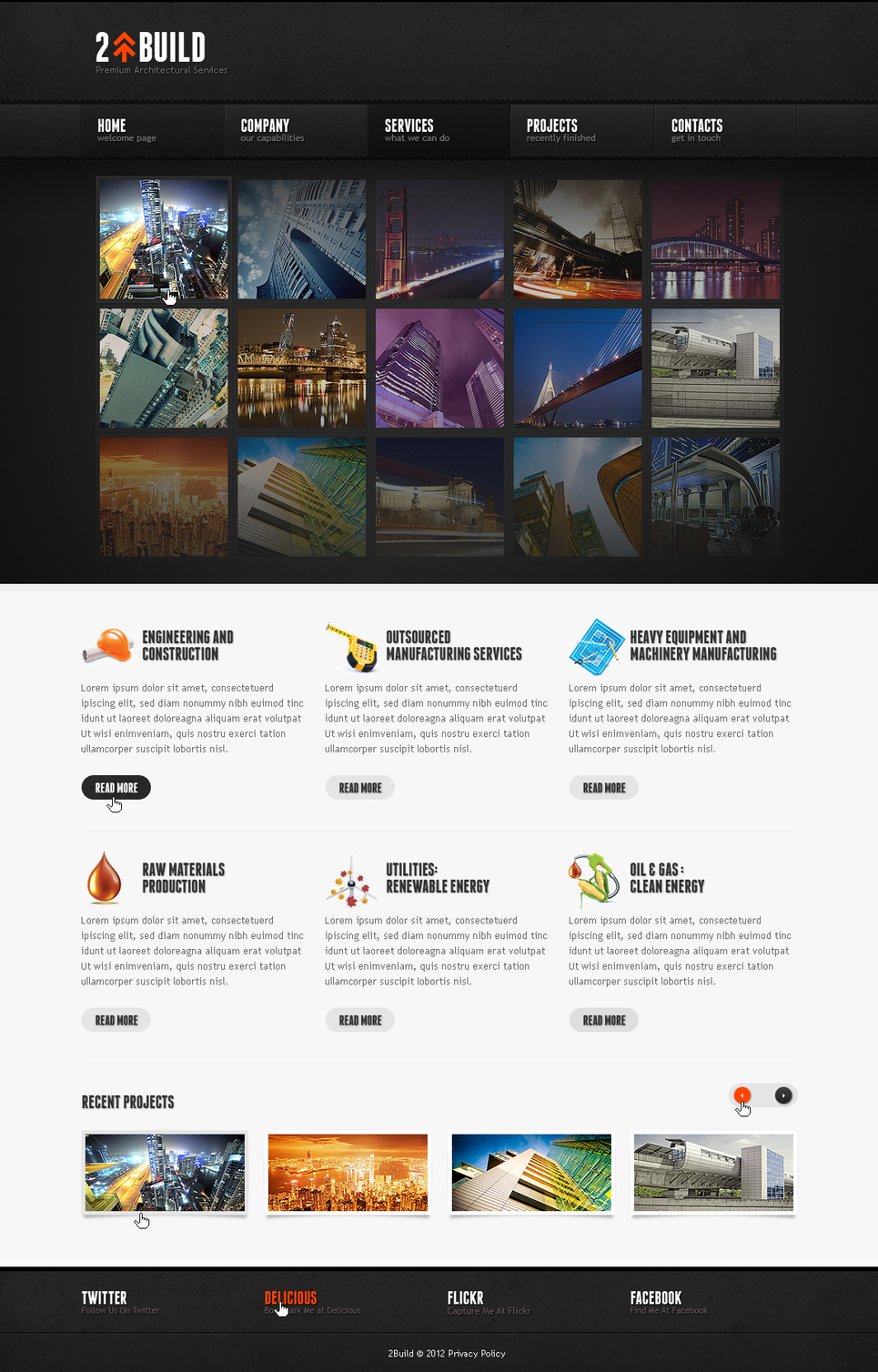 Architect Website Template with a Grid of Thumbnails - image