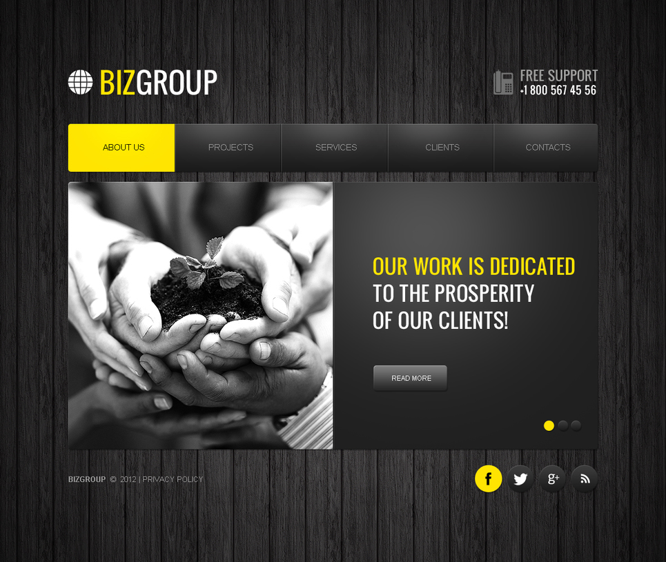 Business Website Template with Black Boarding Background - image