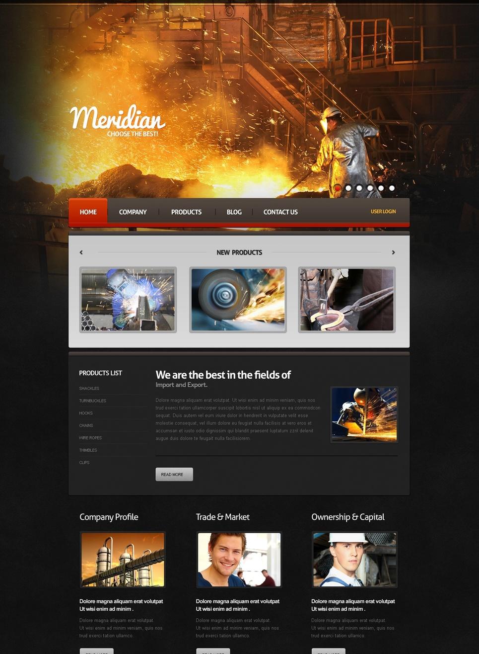 Metallurgy Website Template with Image Slider in Header - image
