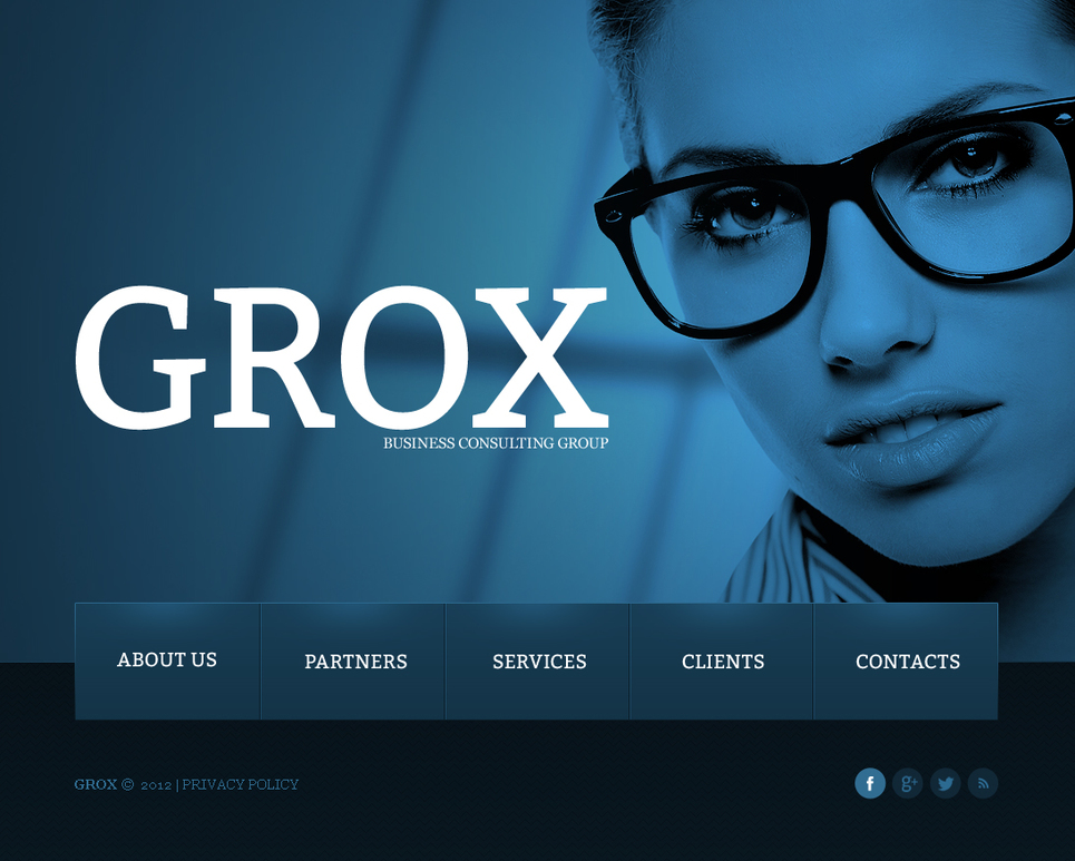 Blue Template for Business Website with Big Background Image - image
