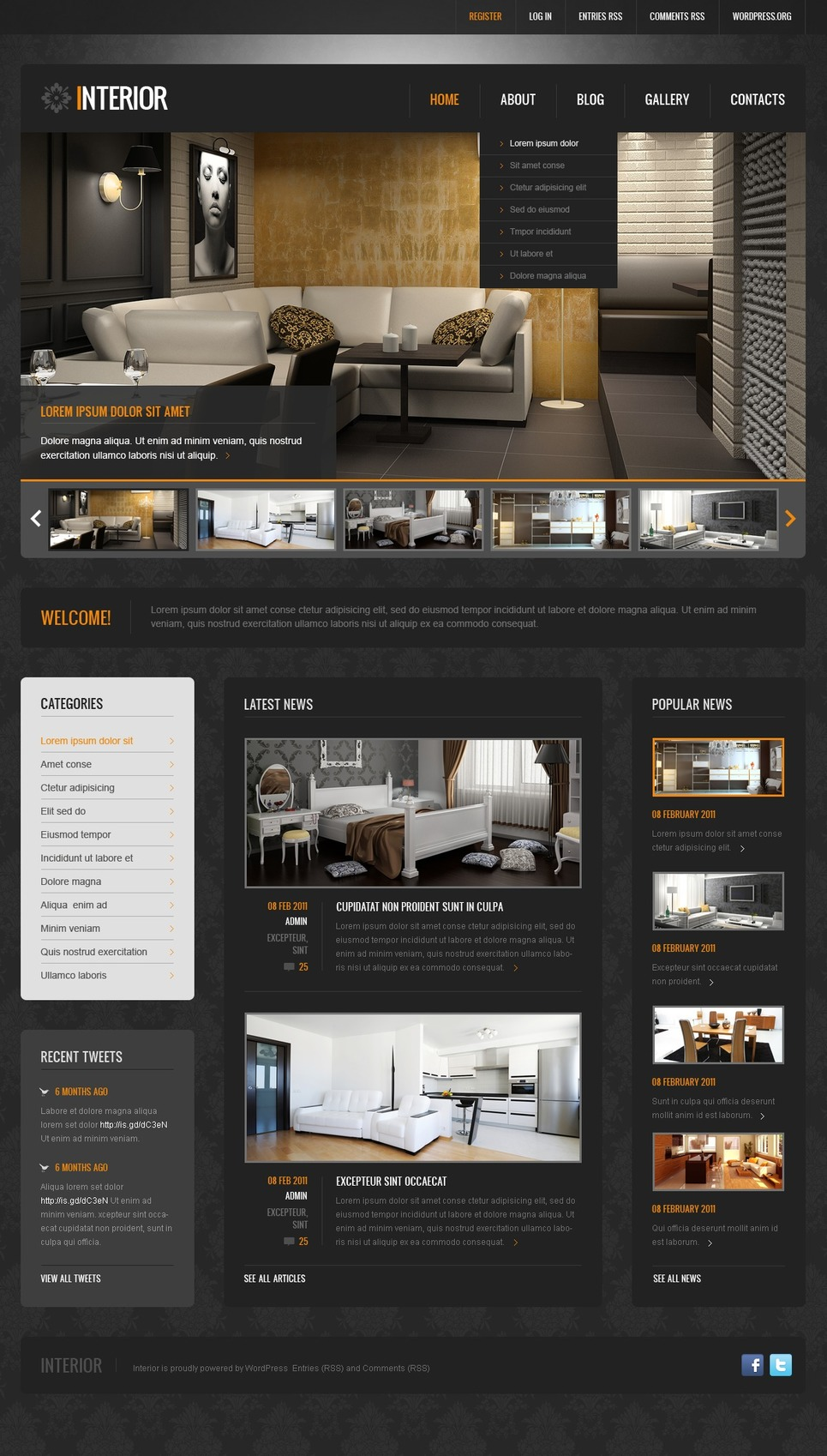 Black Interior Design WordPress Theme New Screenshots BIG