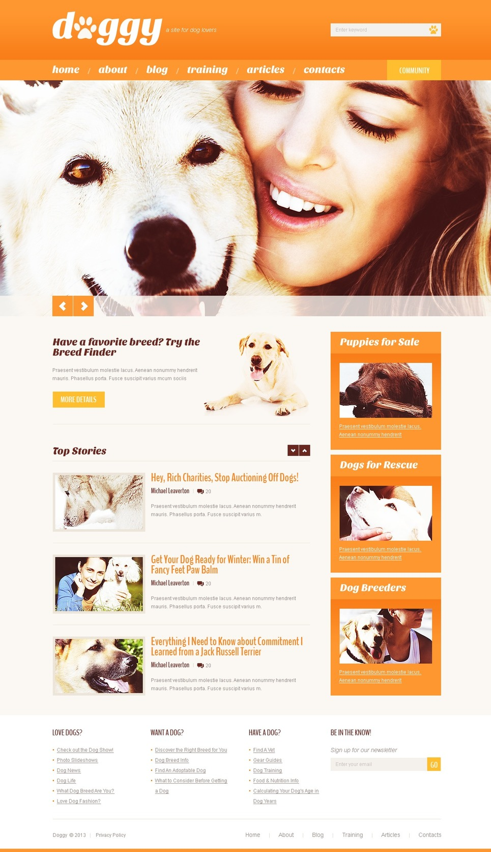 Doggy - Clean Responsive Dogs WordPress Theme