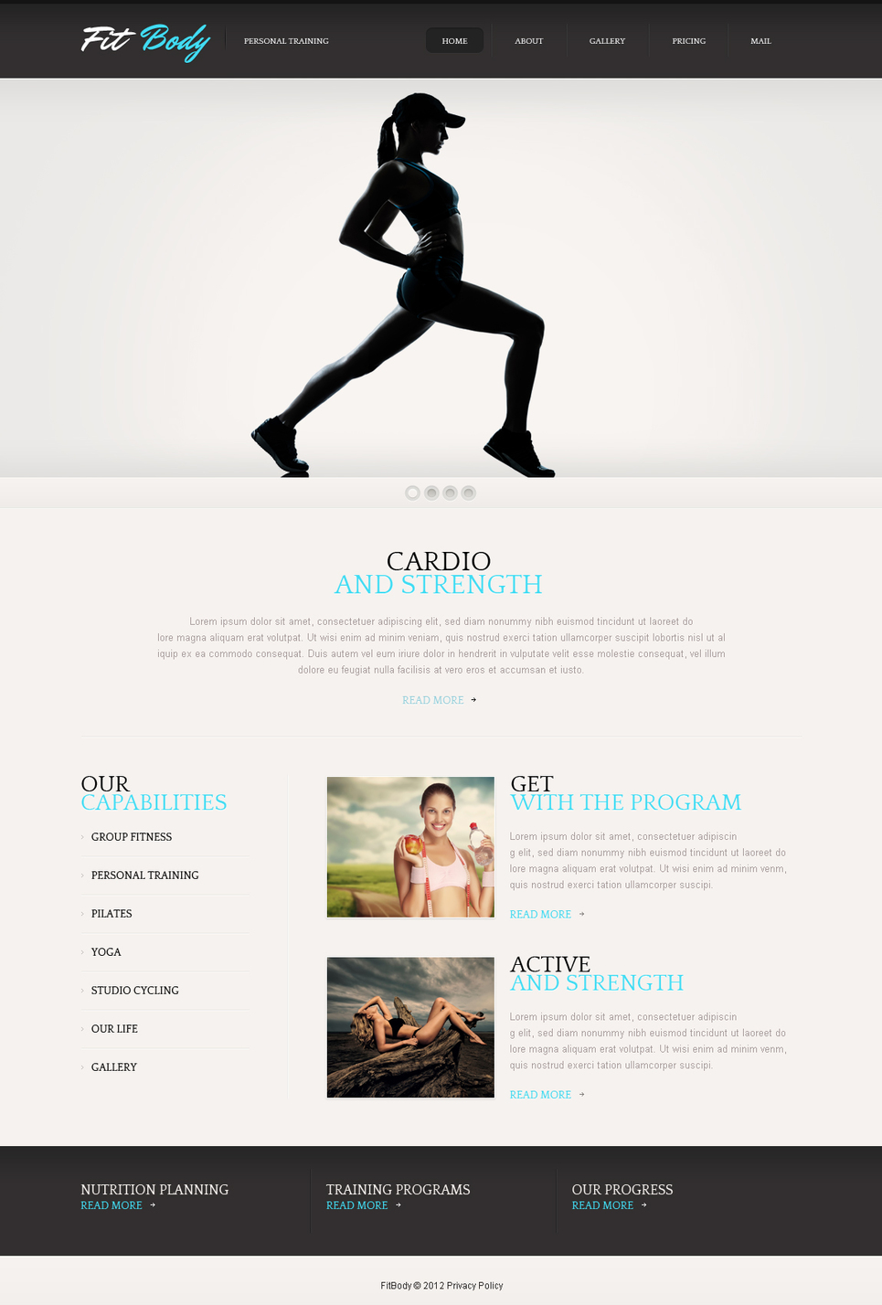 Black and White Fitness Website Template - image