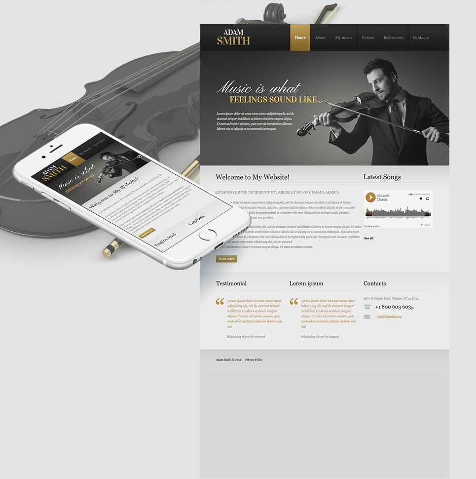 Dark Website Template for Musicians and Singers - image