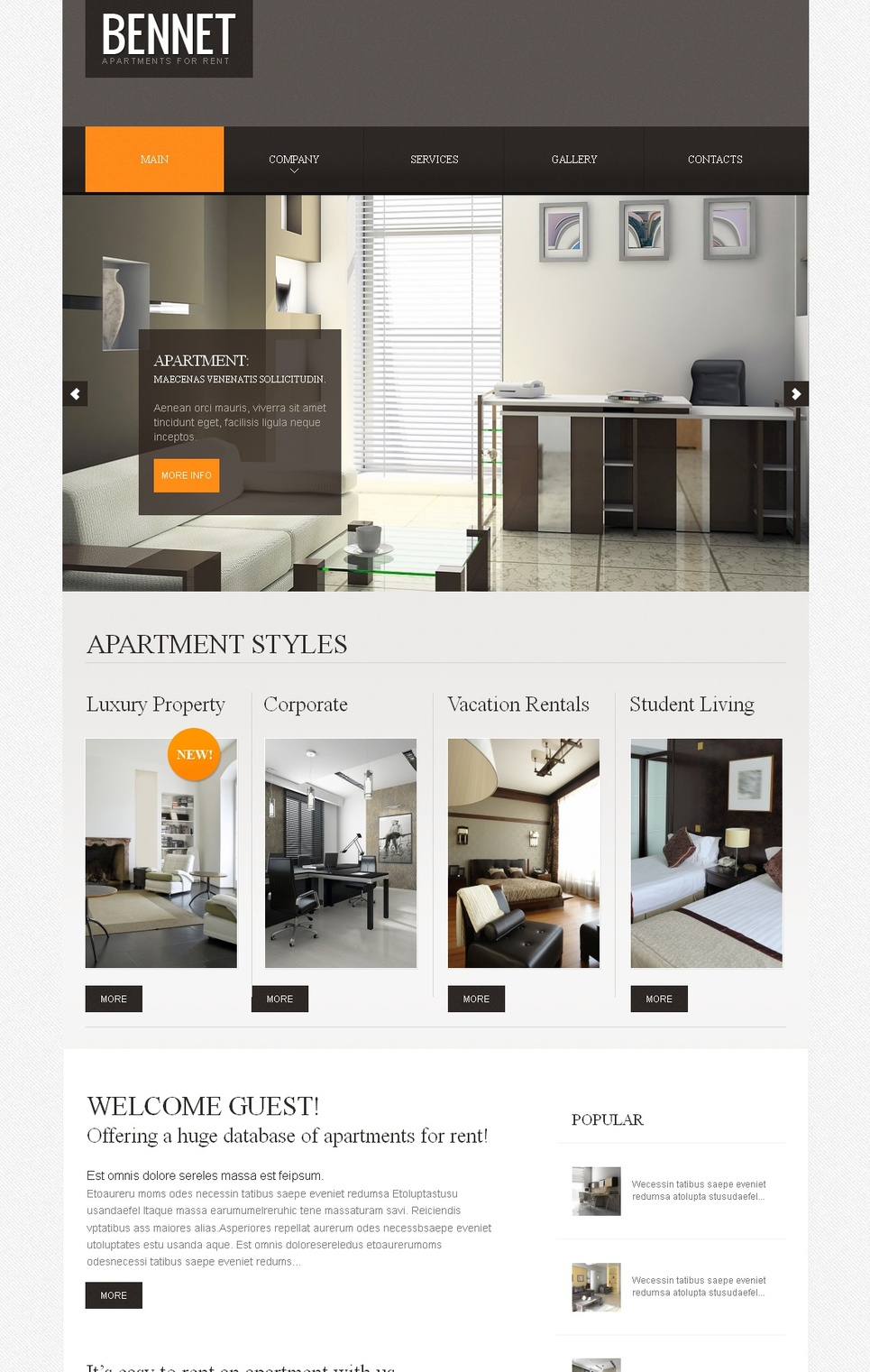 Real Estate Agency Website Template with a Large Content Slider - image