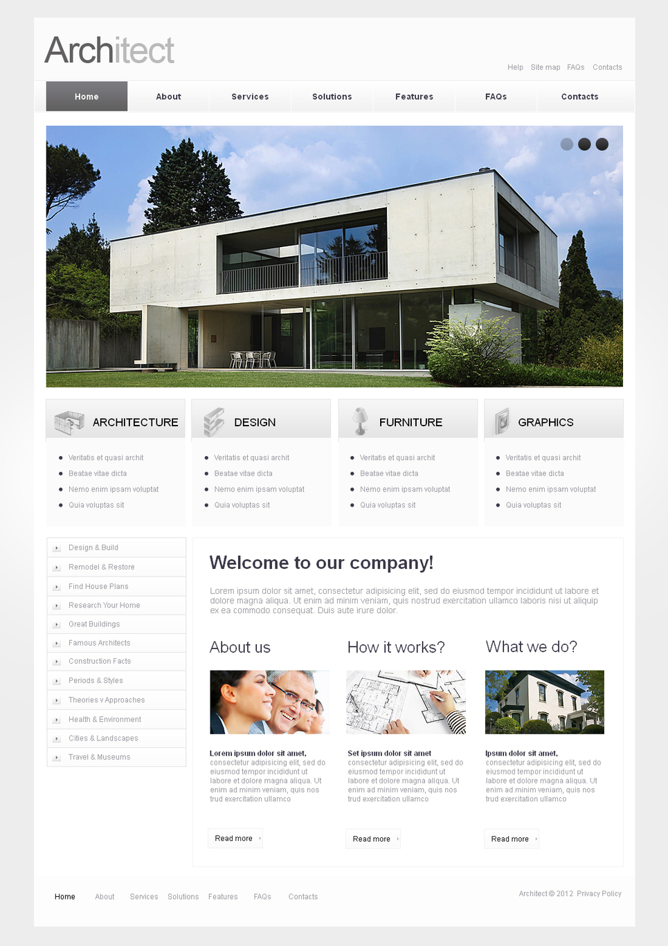 Clean Style Architecture Website Template with jQuery Image Slider - image