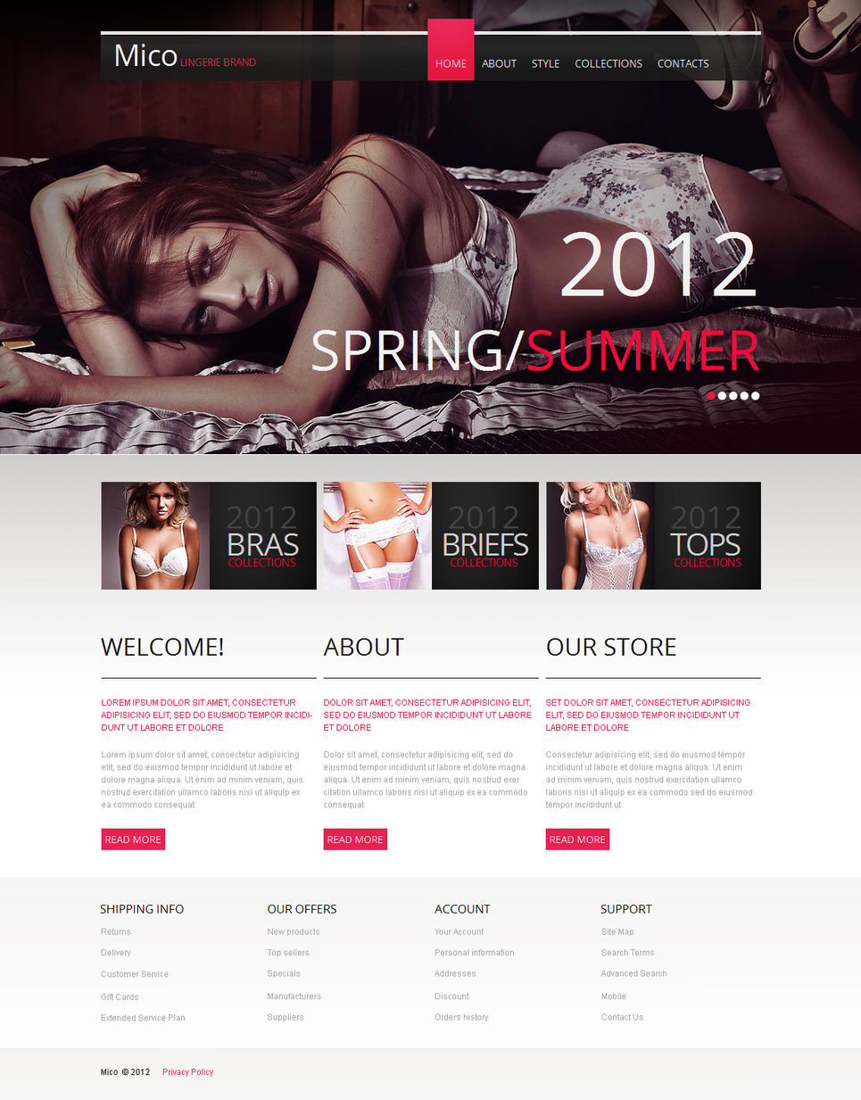 Lingerie Website Template with Vertically Oriented Photo Gallery - image