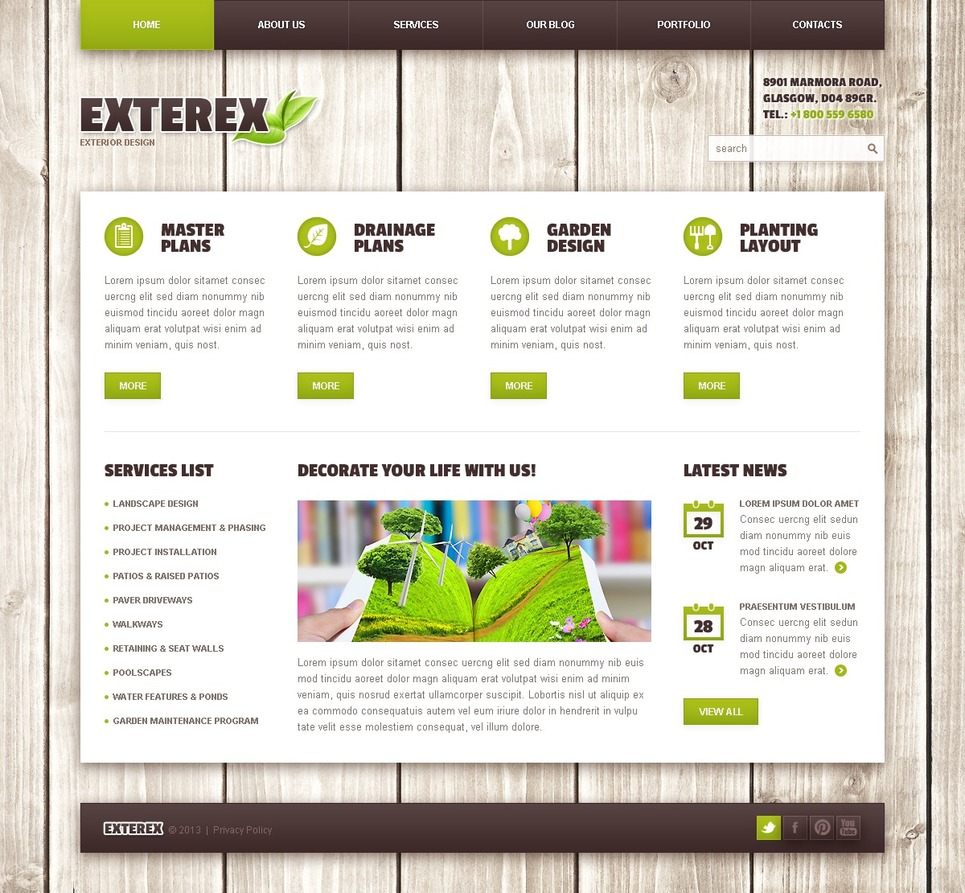 Exterior design wordpress theme web design templates for Exterior design website templates