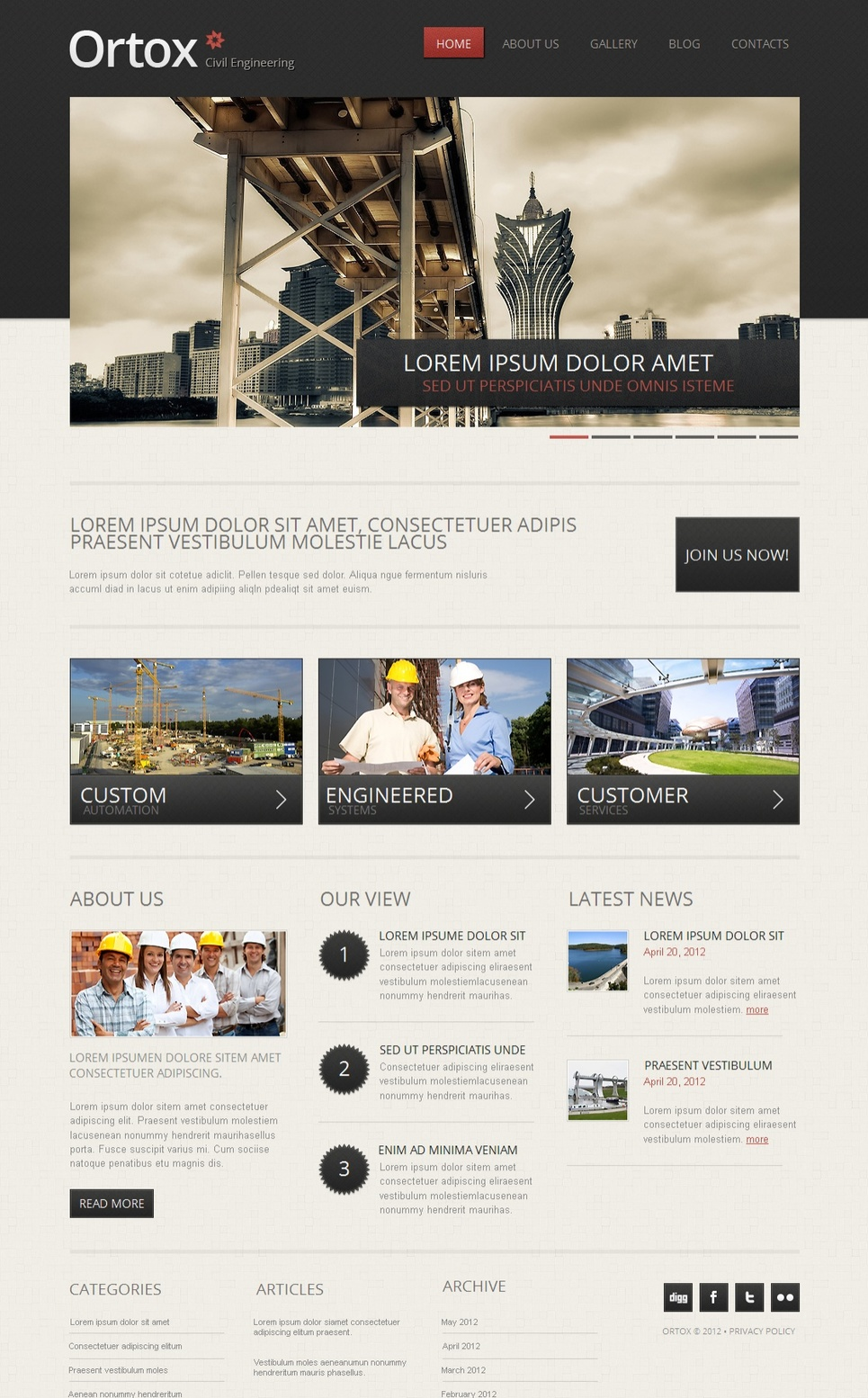 Austere Style Industrial Website Template - image
