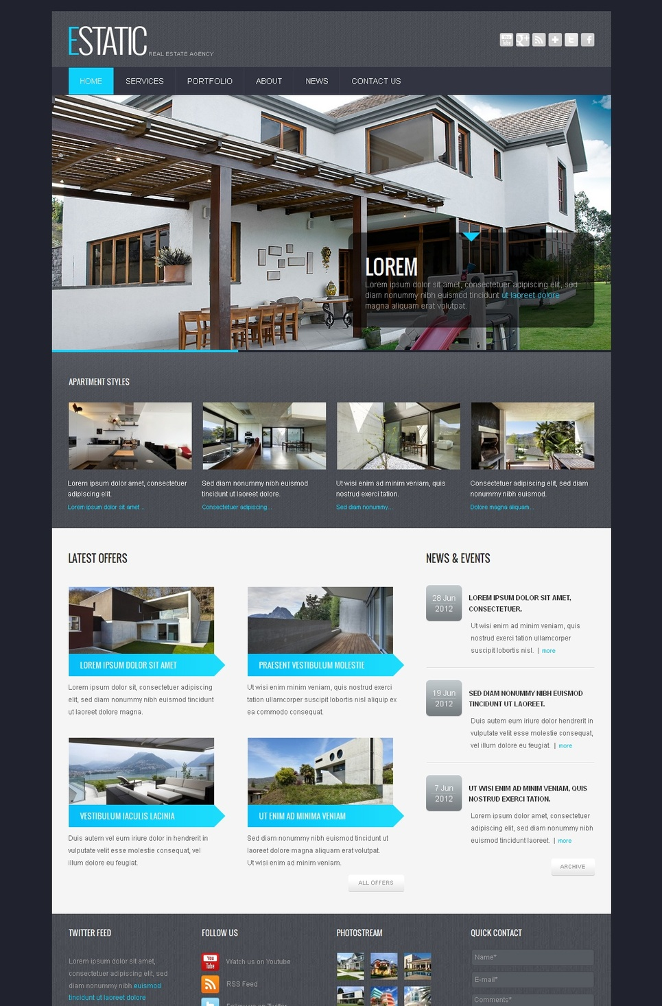 Real Estate Website Template with Image Slider and Transparency Effect - image