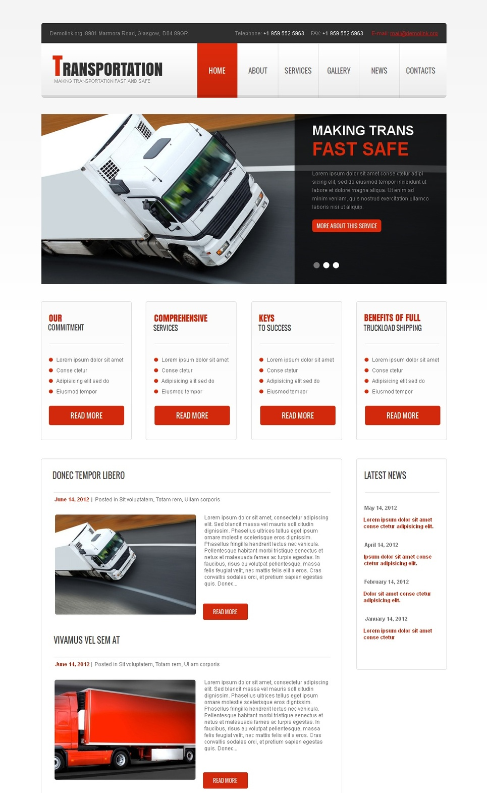 Transportation and Logistics Website Template - image