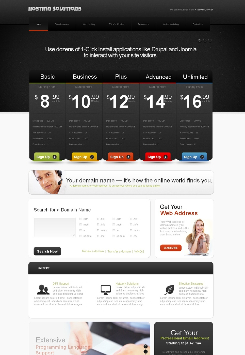 Black and White Website Template for Hosting Providers - image