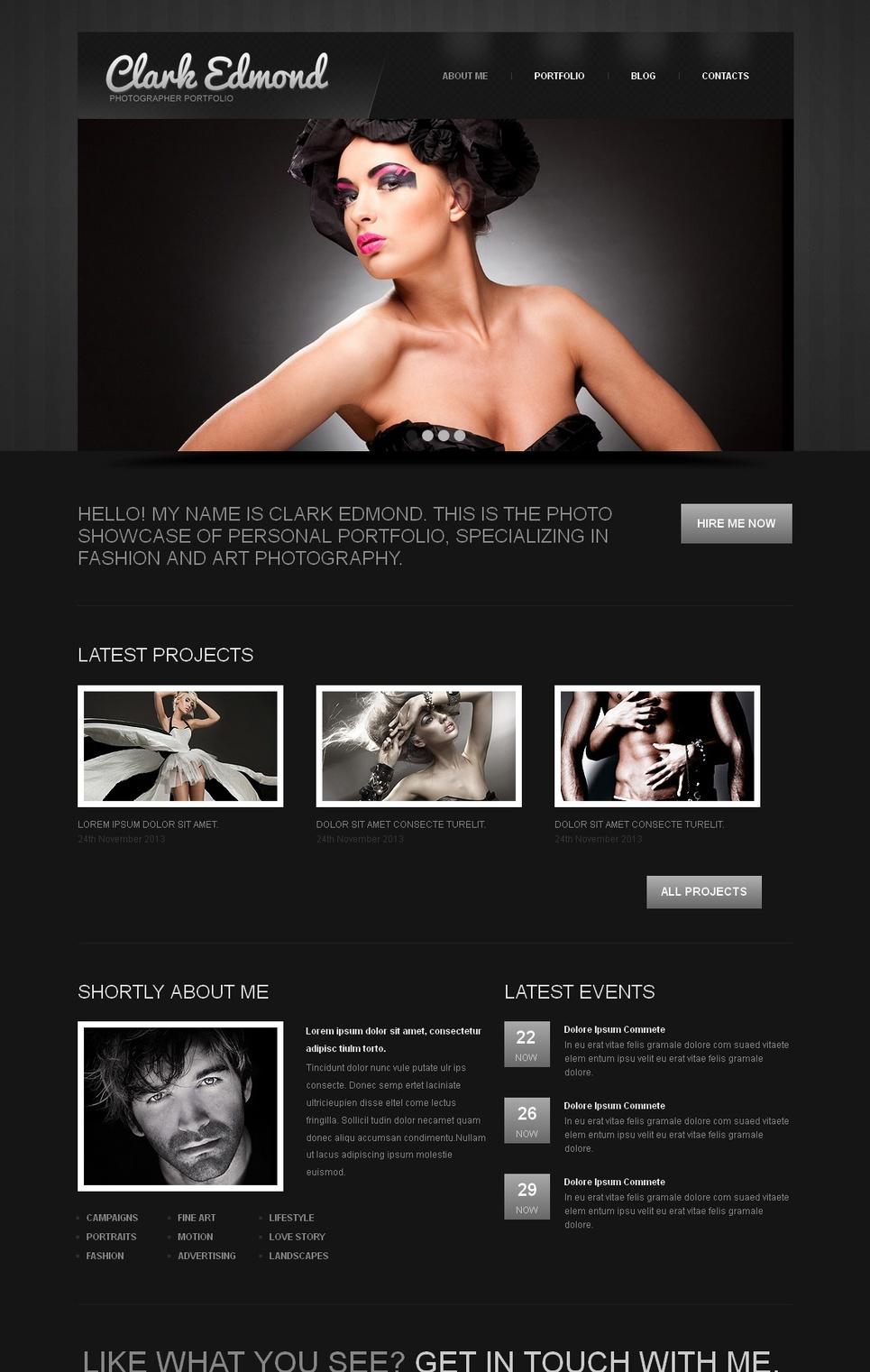 Photographer Portfolio Template Designed in Black and White Colors - image