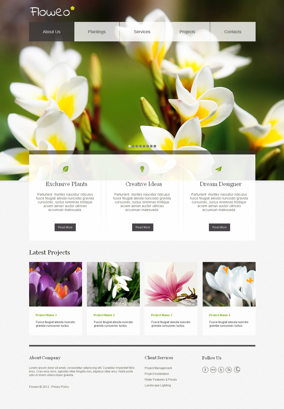 Fresh Flowers Website Template with a jQuery Slider - image