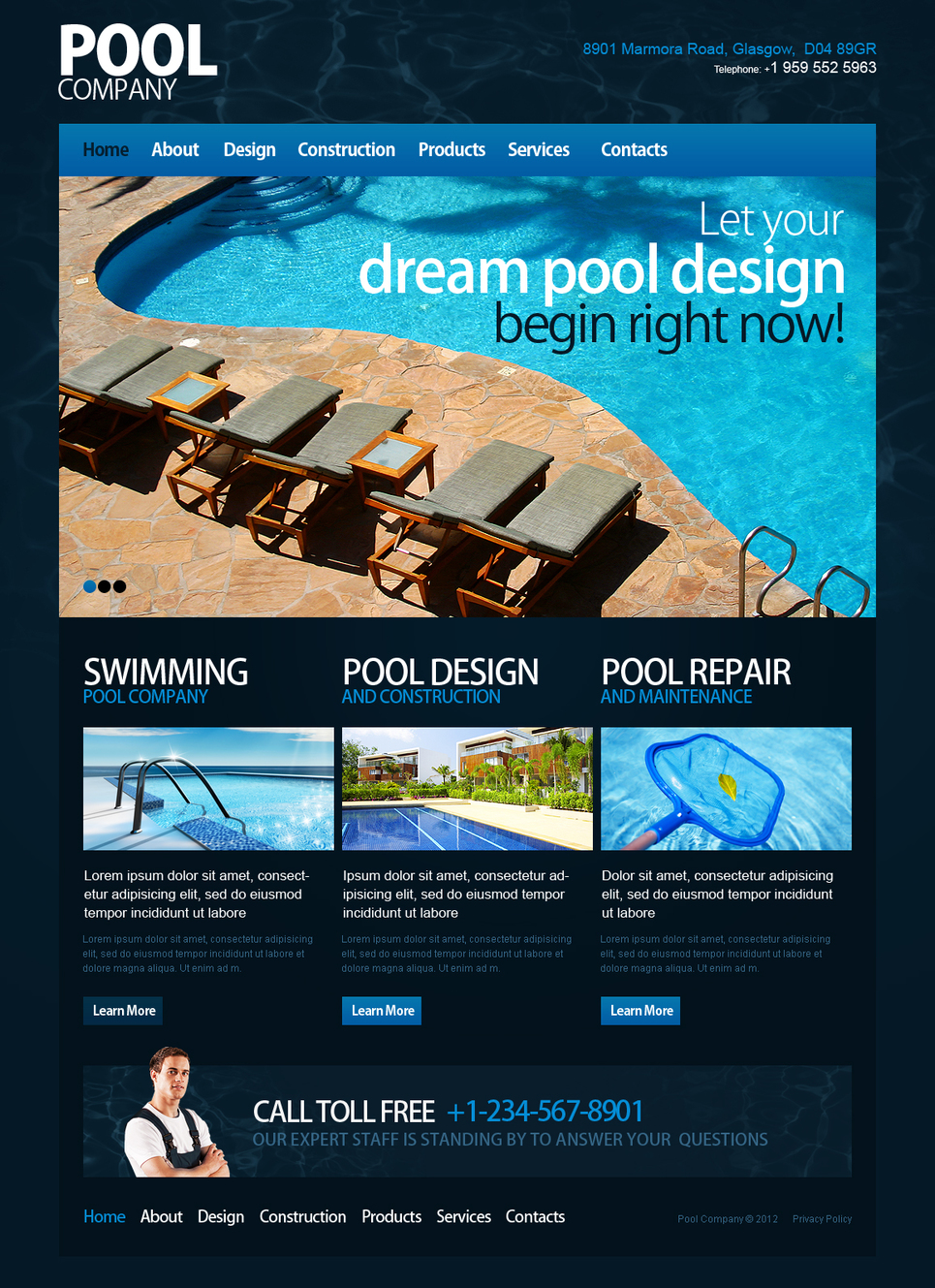 Pool Cleaning Website Template with a Content Slider - image