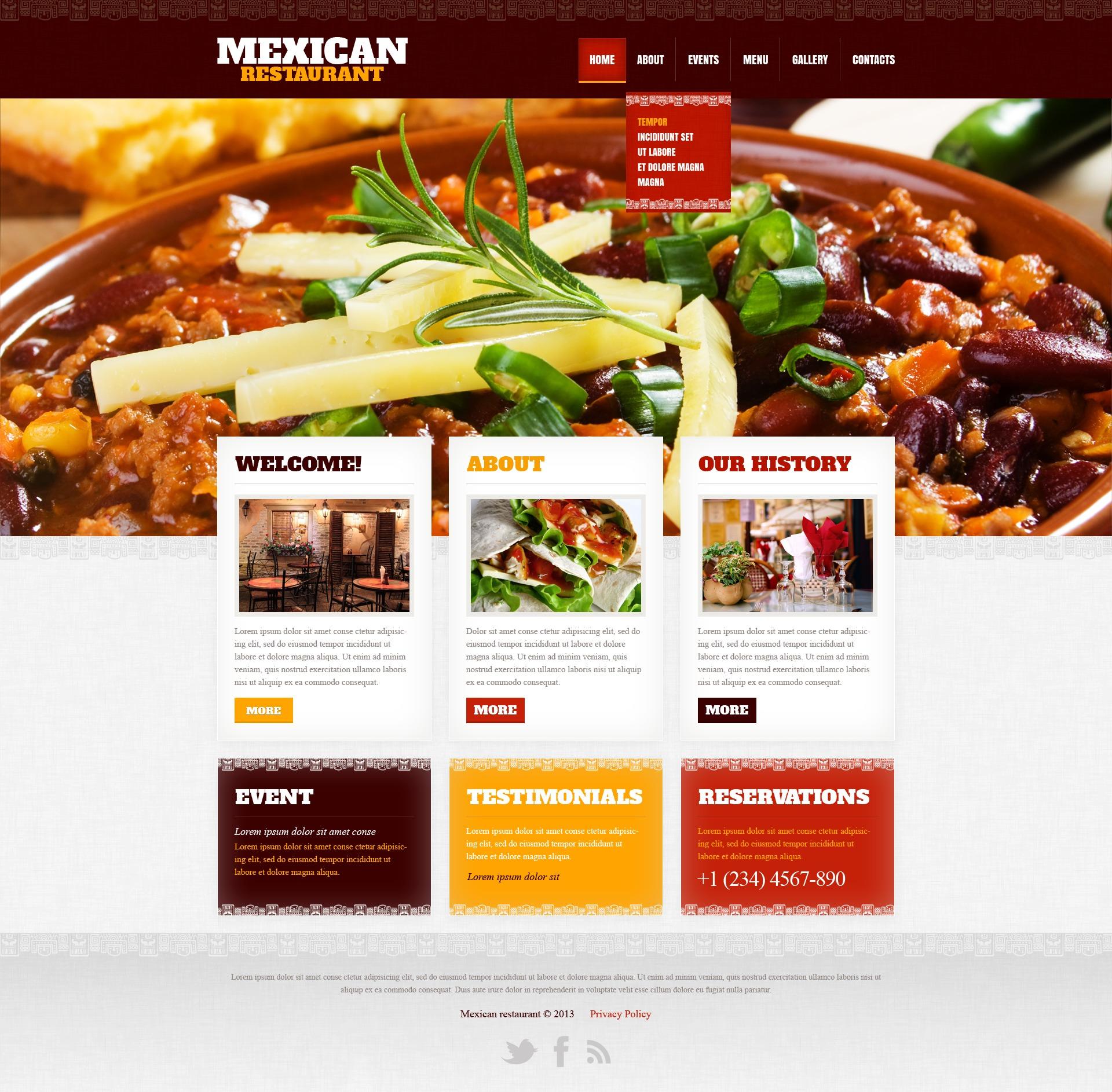 Mexican restaurant website template 42181 for Cuisine website