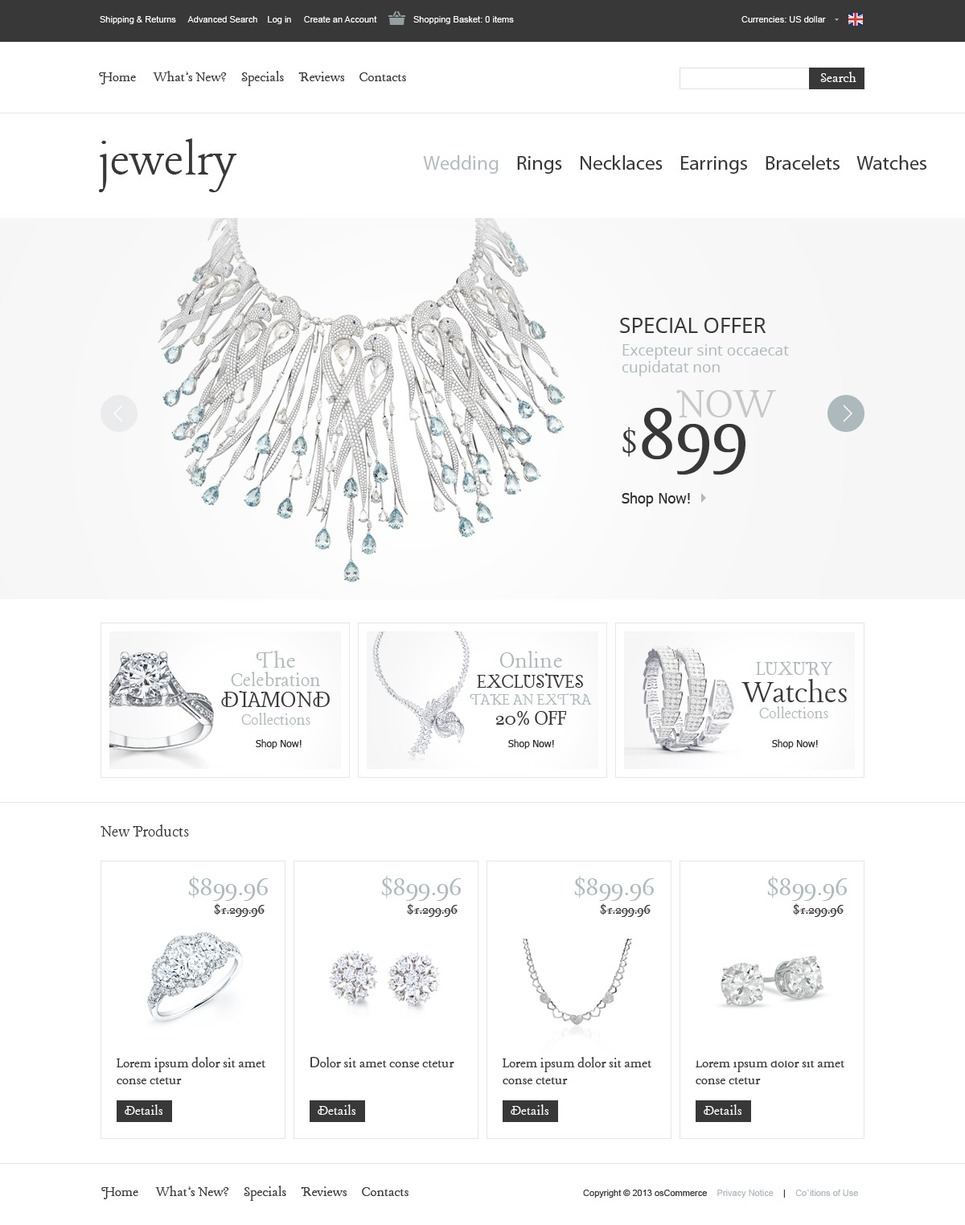 Frosty White Jewelry Theme