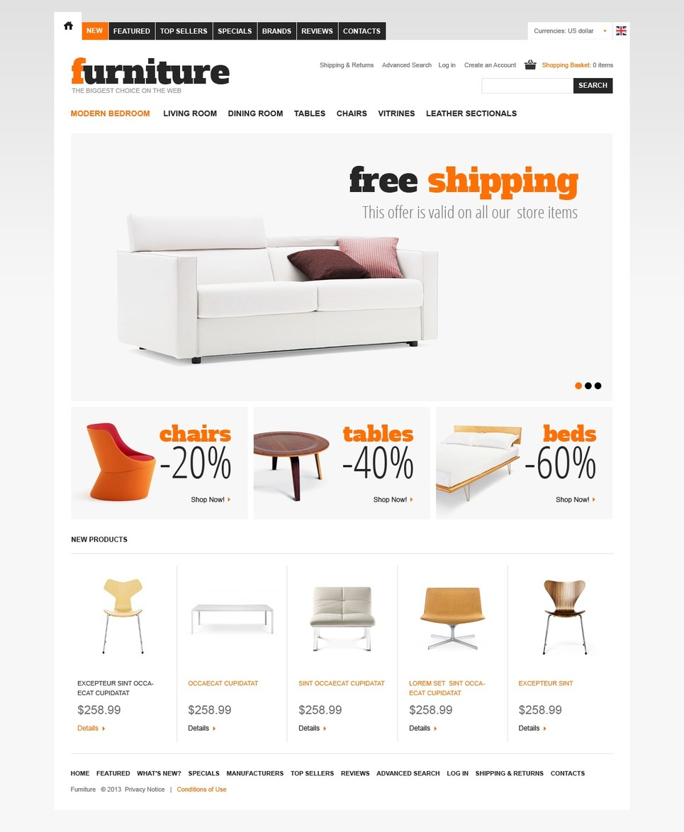 Prefect Furniture Depot OSCommerce Theme