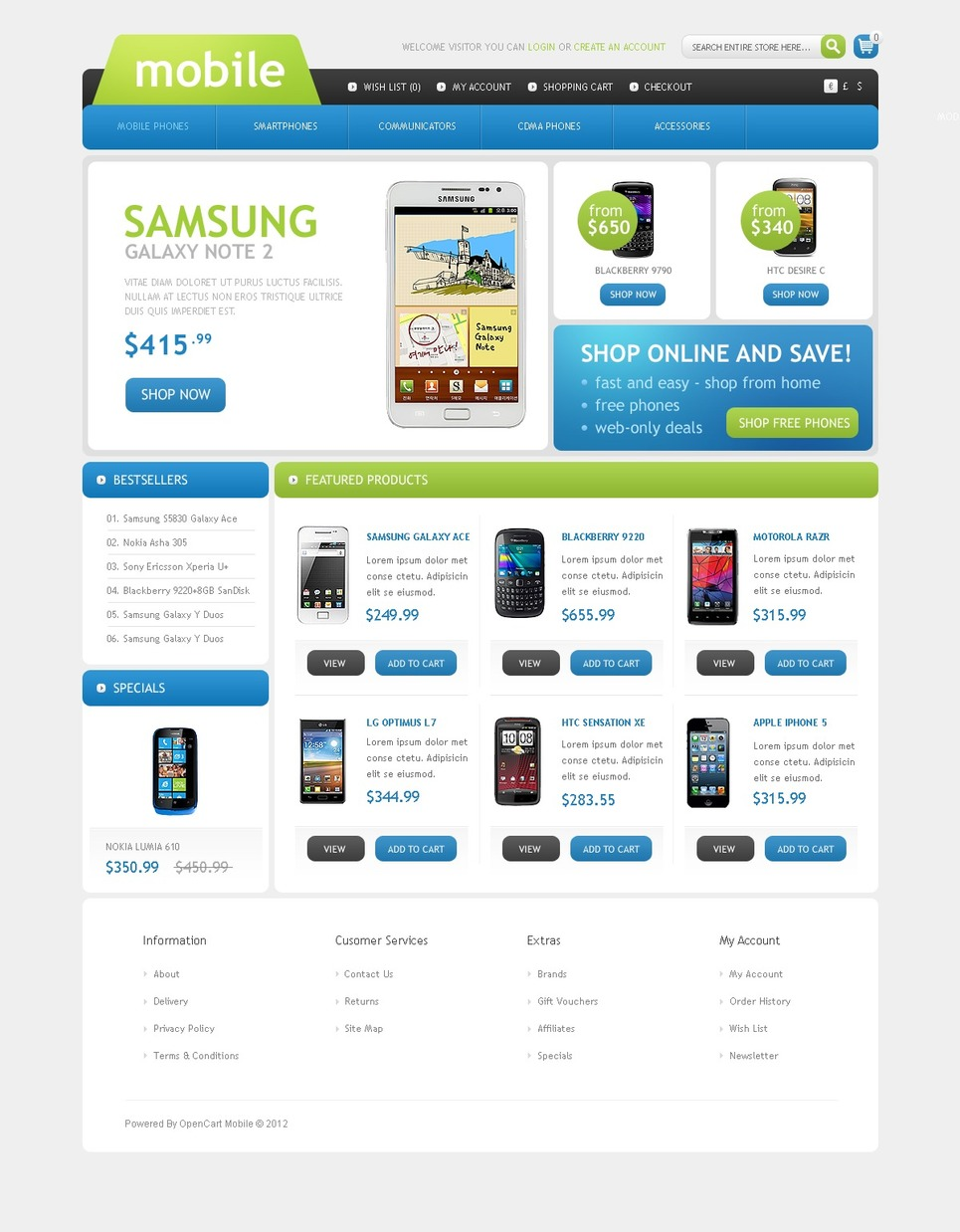 mobile phones store opencart template web design templates website templates download mobile. Black Bedroom Furniture Sets. Home Design Ideas