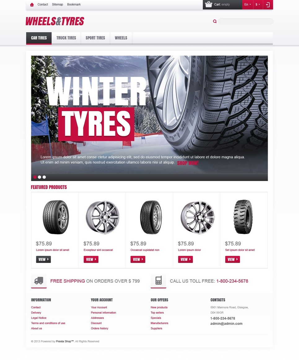 Clean Responsive Wheels & Tyres Store Magento Theme