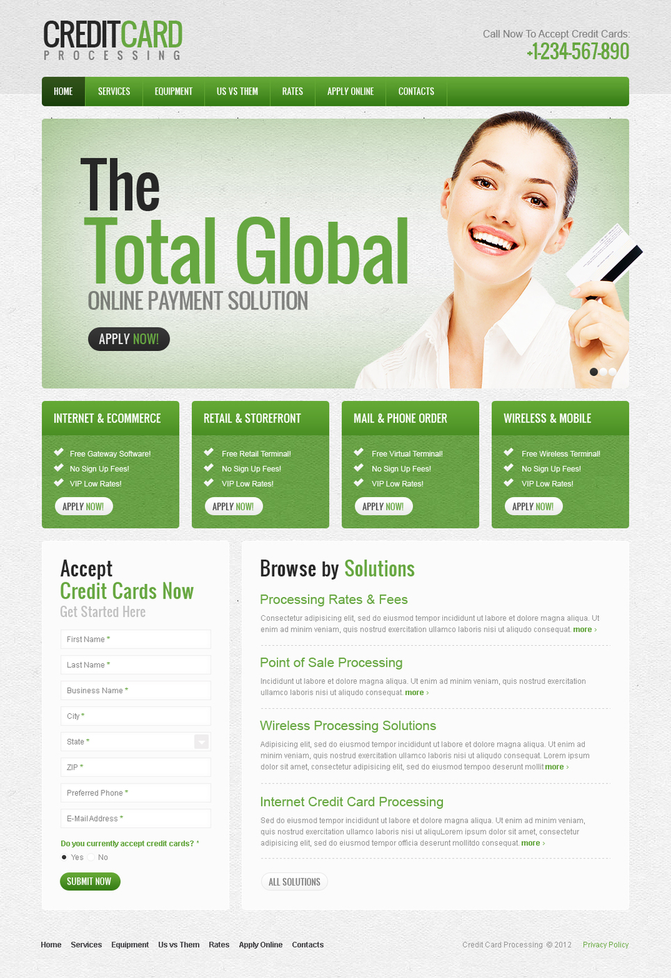 Bank Website Template Designed in Green Color - image