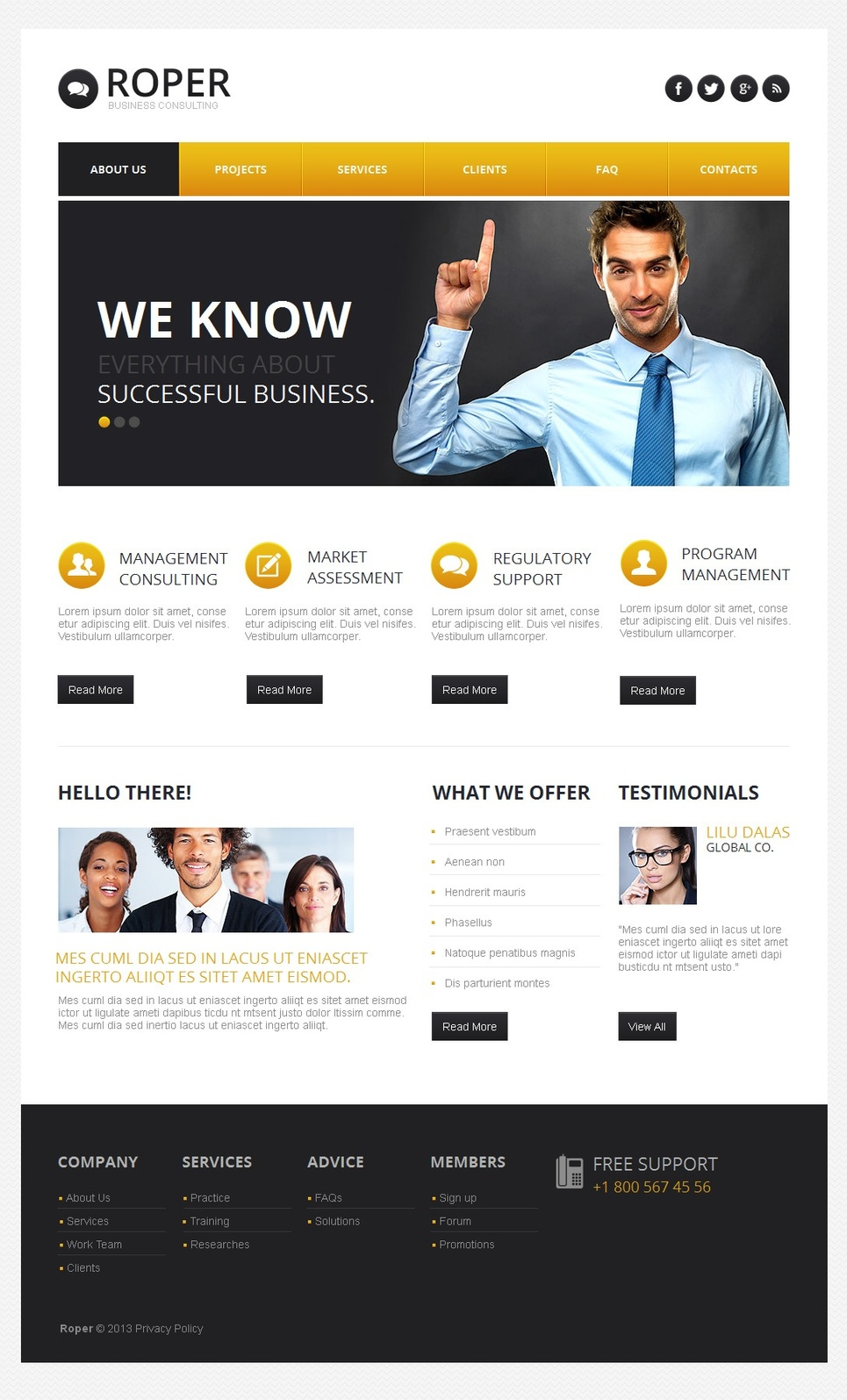 Business Template with Contrasting Menu Colors and Header Slider - image
