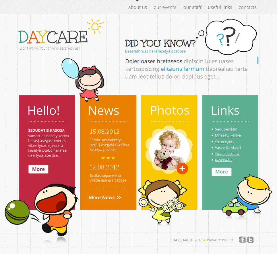 Children Care Website Template with Colored Bricks - image