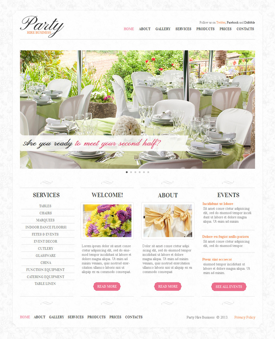 Event Planner Website Template with a Content Slider - image