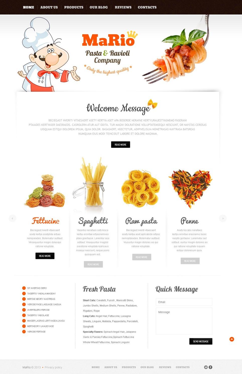 Crumbly Italian Online Restaurant Joomla Template